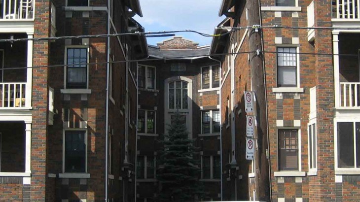 Dark Brick Apartment Building